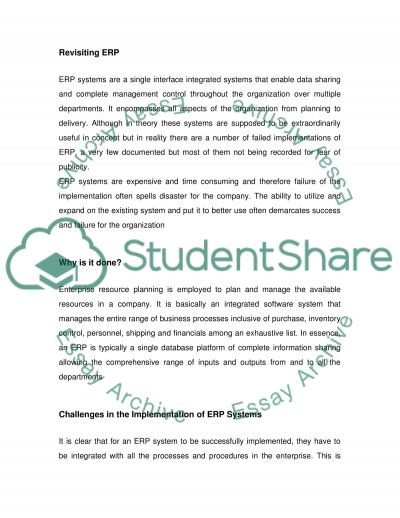 Enterprise Resource Planning essay example