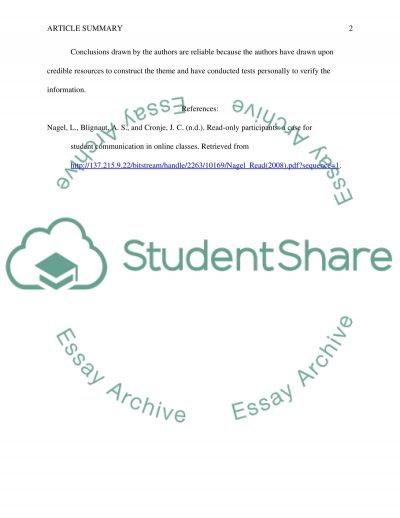 Student communication in online classes