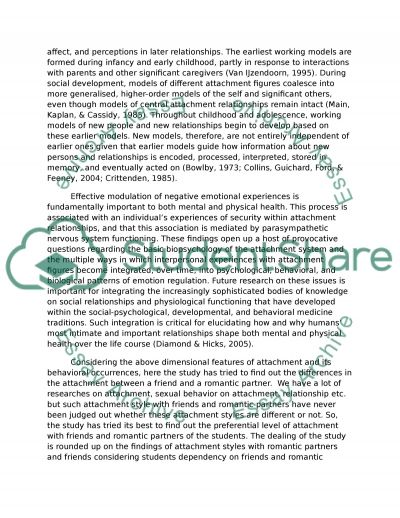 Attachment between friend and romantic partner essay example