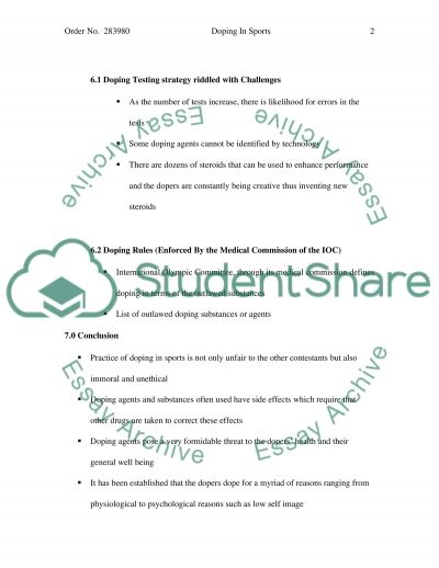 Doping in sports essay example