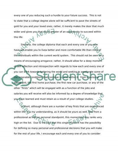 A ceremonical speech Essay example