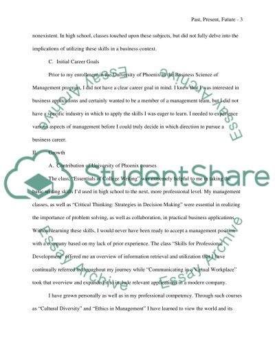 Past, Present and Future Document essay example