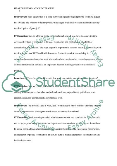 HealthCare IT Executive Interview essay example