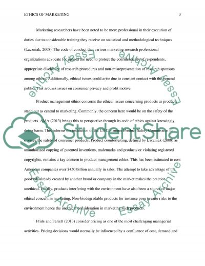 Ethics of Marketing Research Paper example