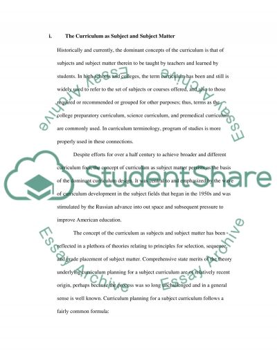 Curriculum and Shaping of Education essay example