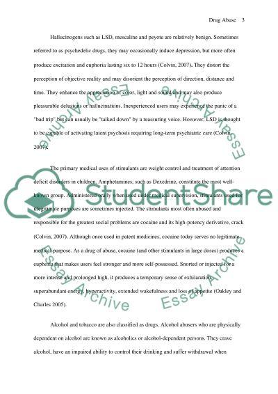 Drug Abuse Essay essay example
