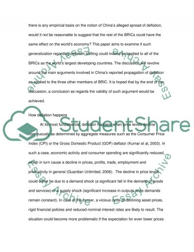 Developing Countries and Deflation essay example