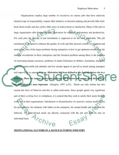 employee motivation and manufacturing Essay example