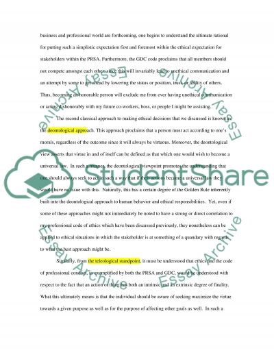 PRSA as well as the GDC professional code of ethics essay example
