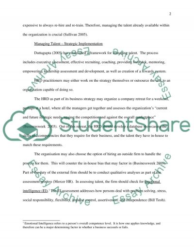 Talent Management Essay example