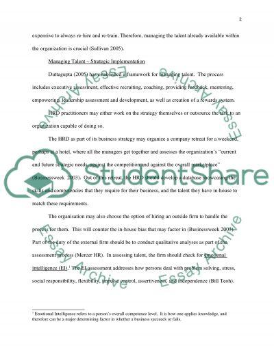 Talent Management essay example