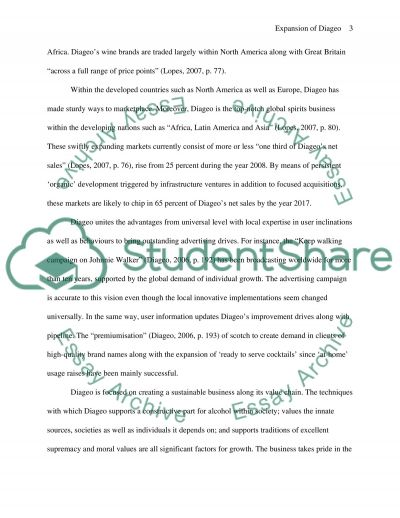 Expansion of Diageo Paper essay example