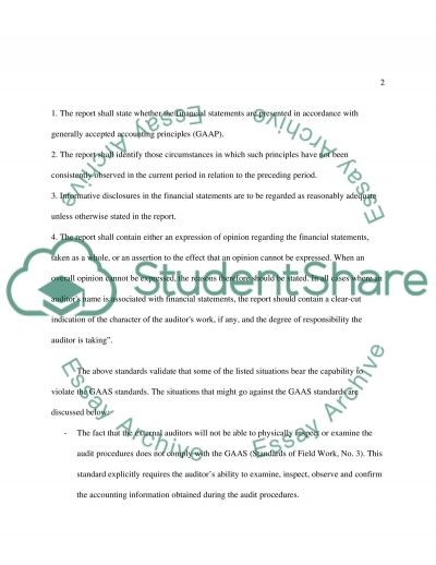 Report in auditing essay example
