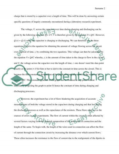 RC circuit lab report essay example