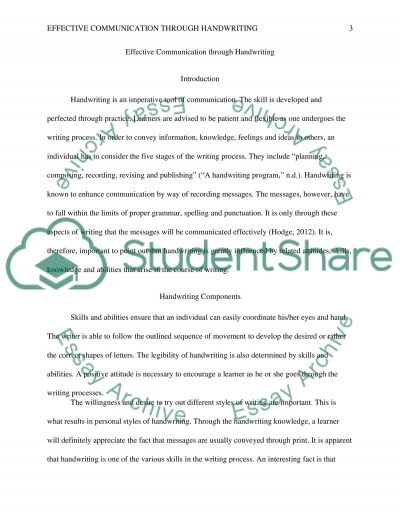 Effective Communication through Handwriting Term Paper example