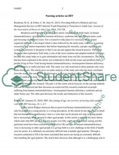 Nursing articles on HIV essay example