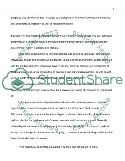 Citizenship Education and Consumer Education essay example