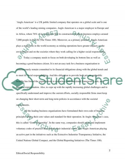 Ethical/Social Responsibilities essay example
