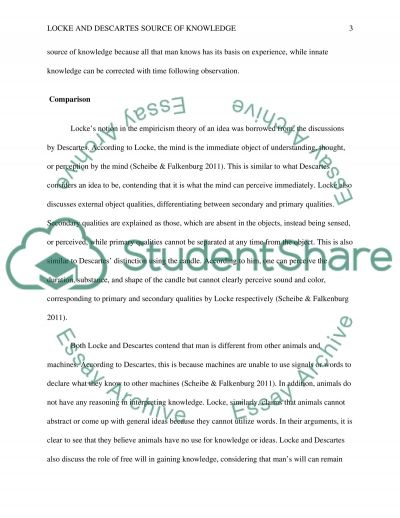 Locke and Descartes source of knowledge essay example