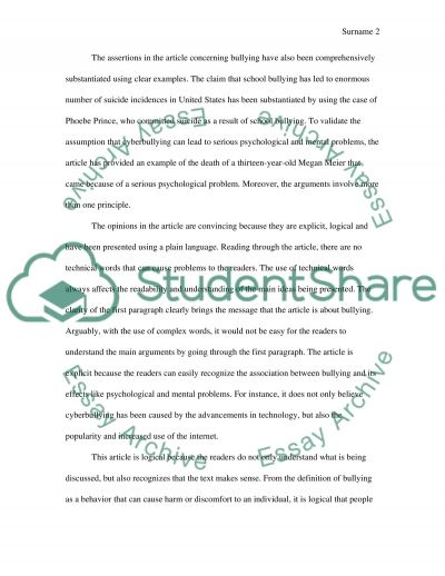 bullying essay example - Bullying Essay Example