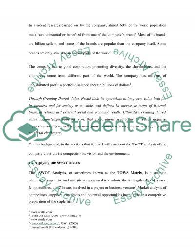 nestle swot analysis 2 essay