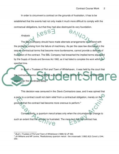 Contract II Coursework Question essay example