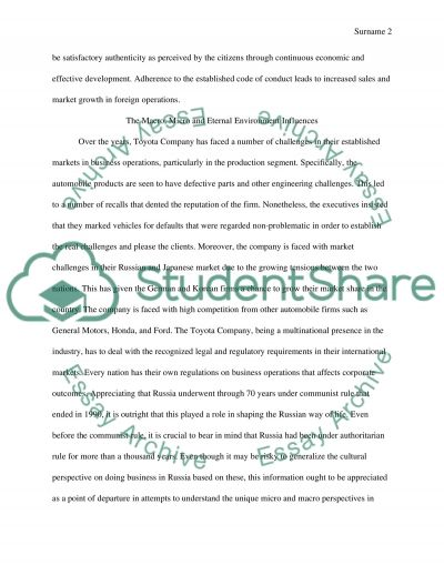 International Marketing Strategy Report Essay example