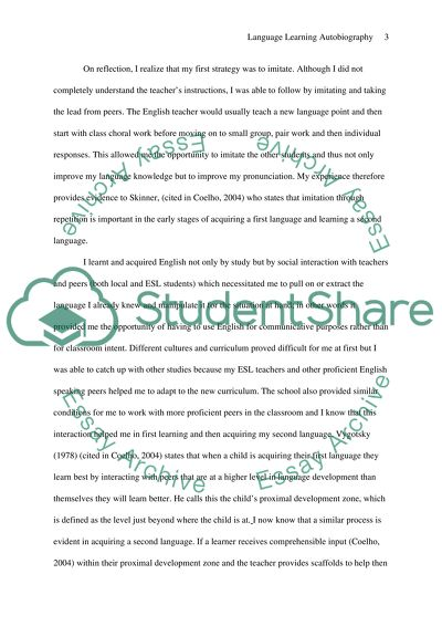 Process Essay Thesis Statement  Personal Essay Examples High School also Essay My Family English Language Learning Autobiography Essay Example  Topics And  Buy Custom Essay Papers