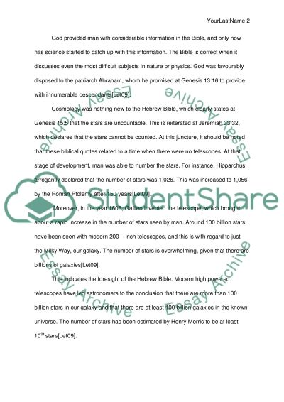 Relationship between the subject you have chosen and the Bible essay example