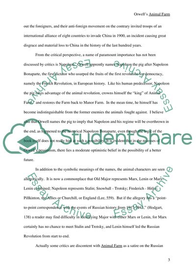 George Orwells Animal Farm Book Report Review Example Topics And