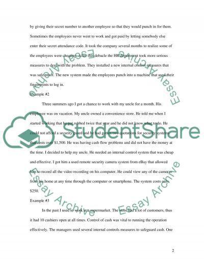 Internal Controls essay example