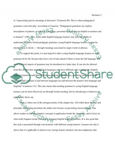 Learning English by Lynn Cameron. Learning Literacy Skills, Grammar and Learning through Stories essay example