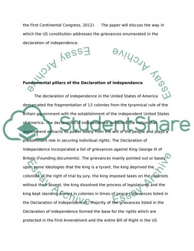 how does the us constitution address the grievances enumerated in  how does the us constitution address the grievances enumerated in the declaration of independence essay example