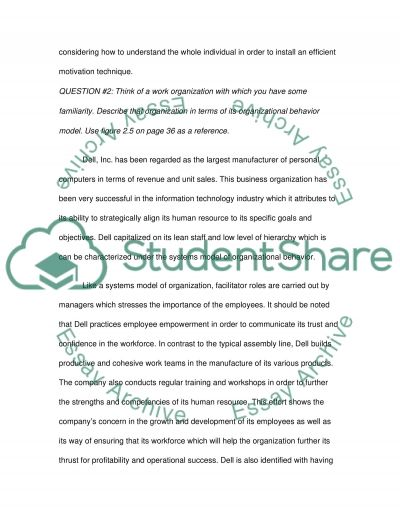 The main concepts of the organizational behavior essay example