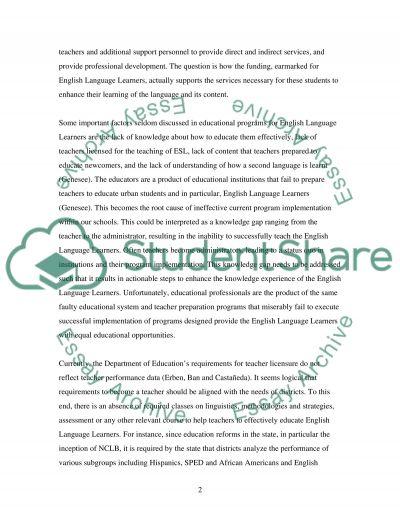 Enlightening English Language Learners essay example