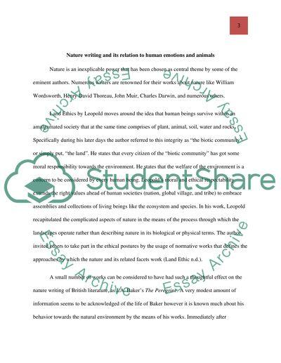 J.A. Bakers essay, Beginnings
