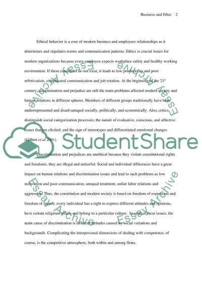 Business and Ethic essay example