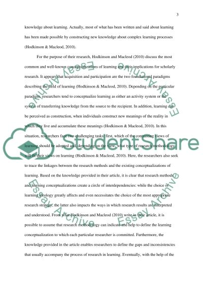 Research Methods and Learning: Conceptualizing the Difference essay example