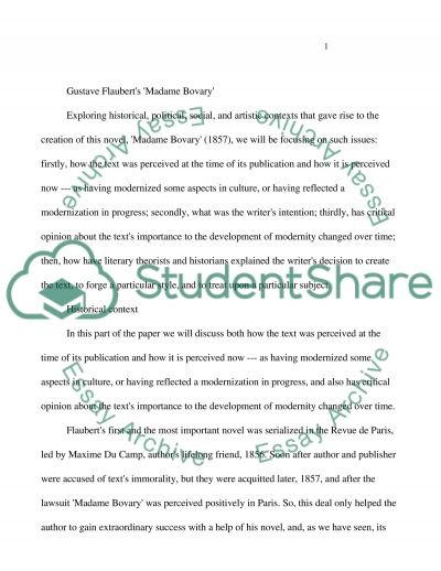 English Literature (Classic and Modern).Gustave Flauberts Madame Bovary essay example