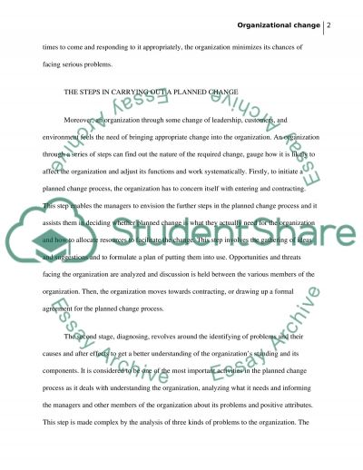 Organisational Change Essay Essay example