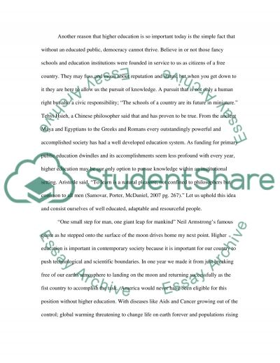 Higher Education in Contemporary Society essay example