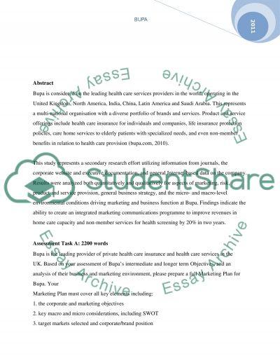 Marketing analysis of Bupa essay example