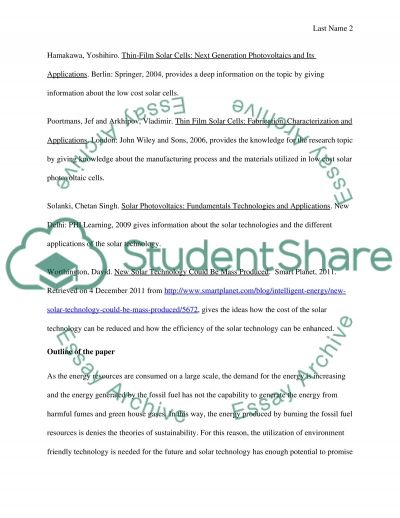 physics research paper outline