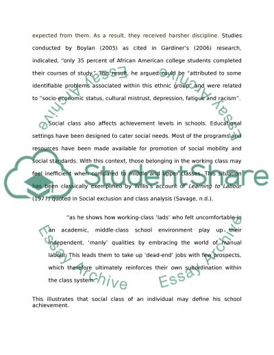 Social Class and Ethnicity in Education essay example