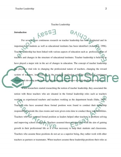 Teacher Leadership. Behaviors and Importance of Teacher Leaders essay example