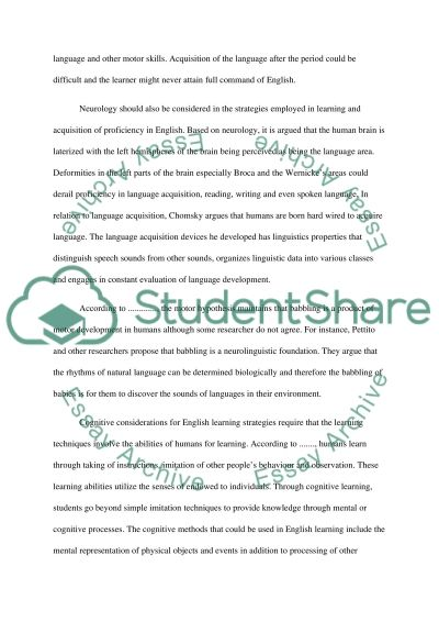 Strategies for English Learners essay example