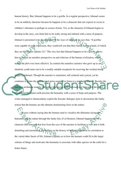 the analysis of the novel ishmael essay example topics and well   text preview