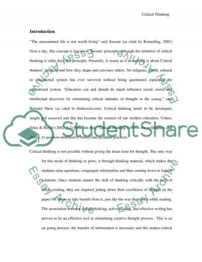 Critical Thinking Master Essay essay example