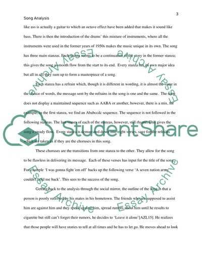 Song analysis essay