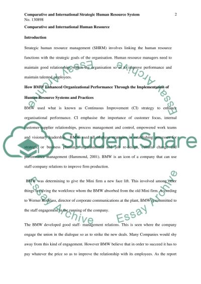 Comparative & International HRM essay example
